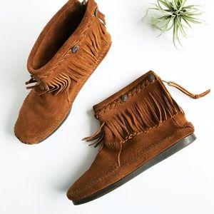 Minnetonka Brown Fringe Ankle Boot Moccasin 7
